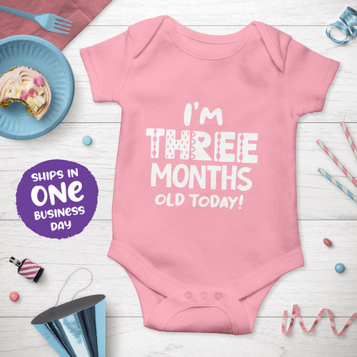 Month Birthday Celebration Short Sleeve Bodysuits in Funky Style