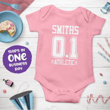 Sports Jersey Style Personalised Short Sleeve Bodysuits