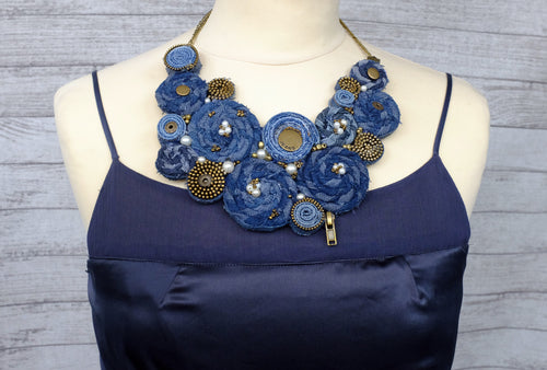 Handmade Bib Denim Necklace No. 3