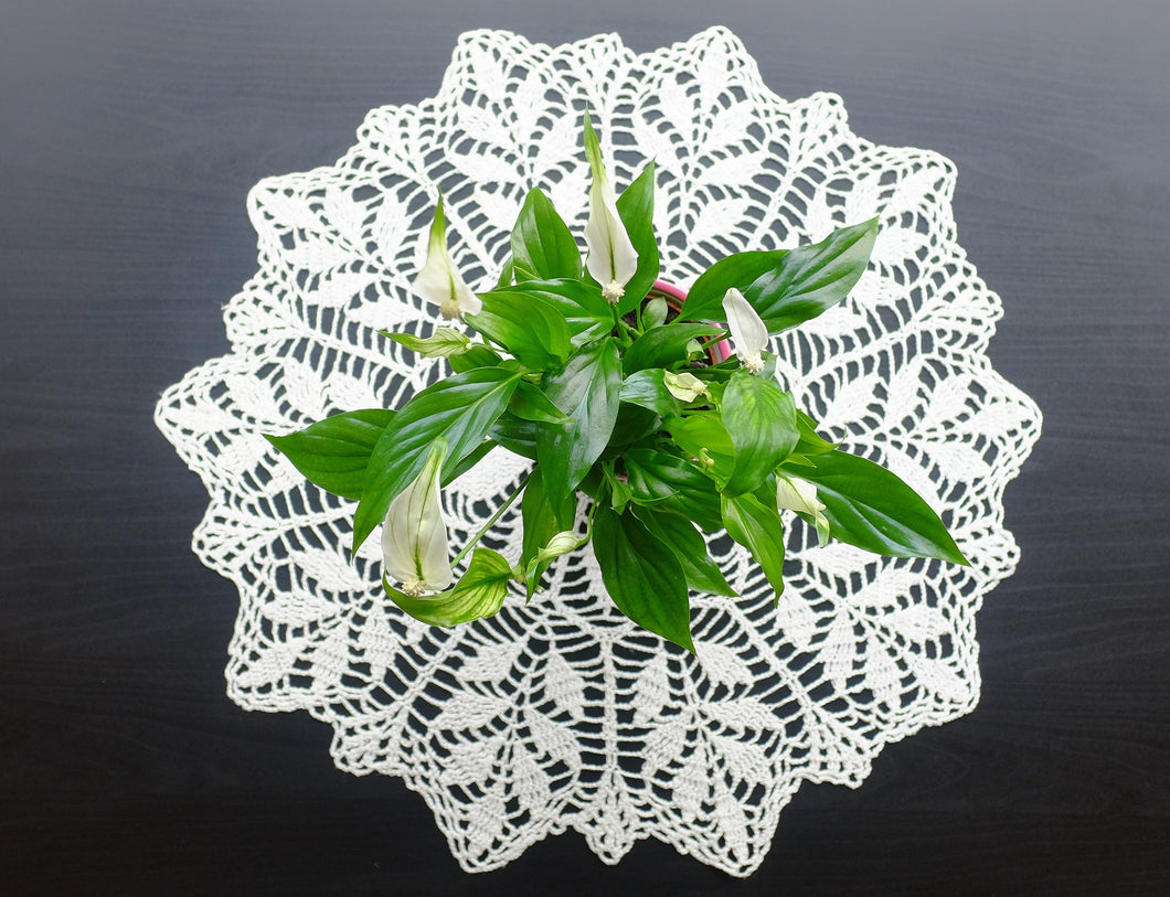 White Cotton Crochet Doily No.9