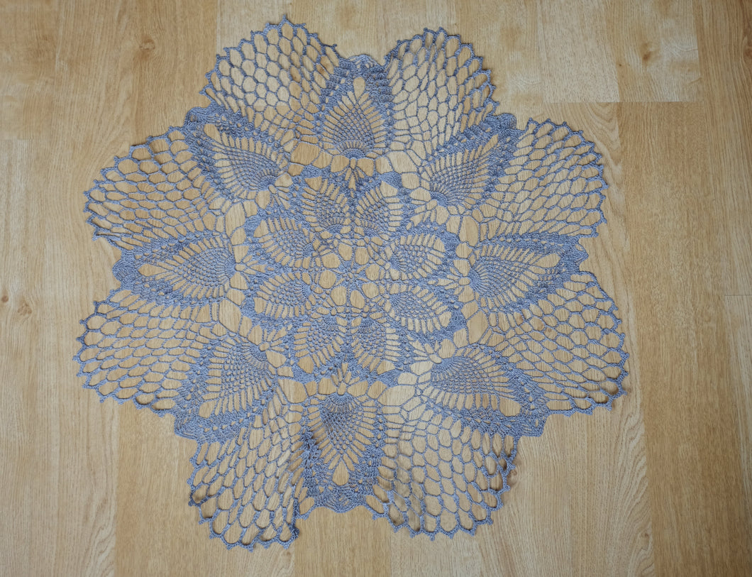 Grey Linen Crochet Doily No.3