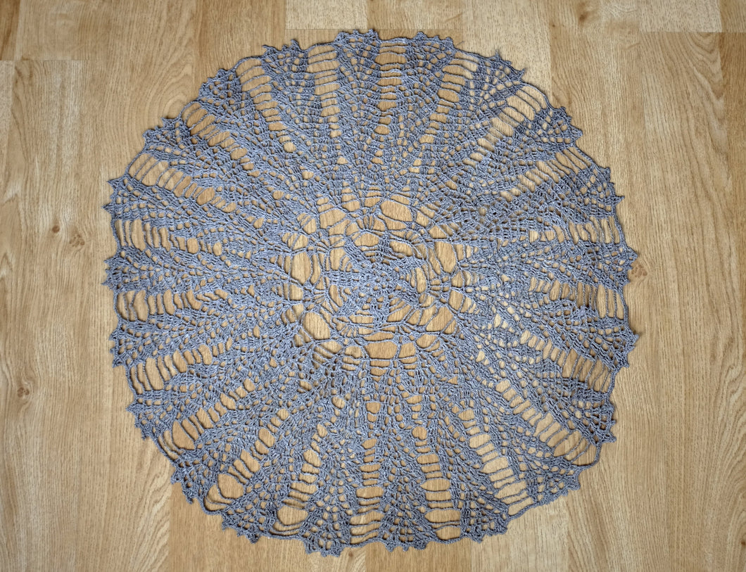 Grey Linen Crochet Doily No.2