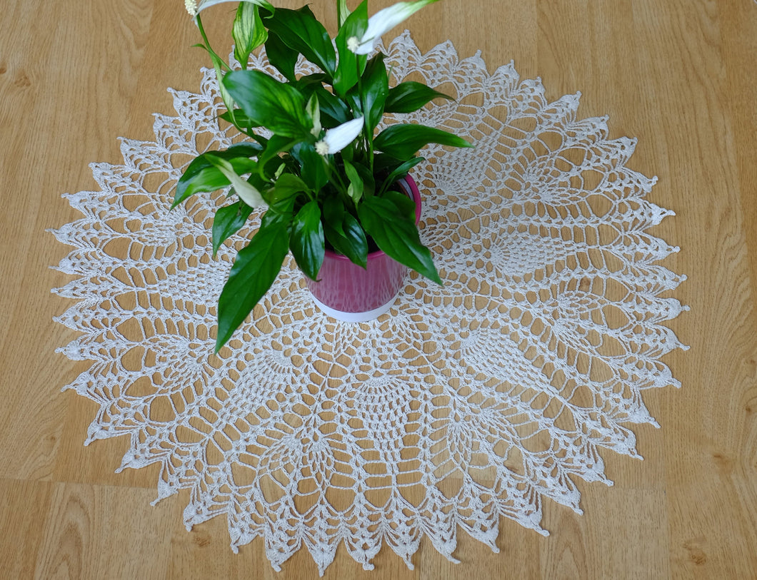 White Cotton Crochet Doily No.7