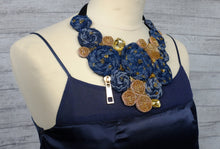 Handmade Bib Denim & Gold Necklace 1