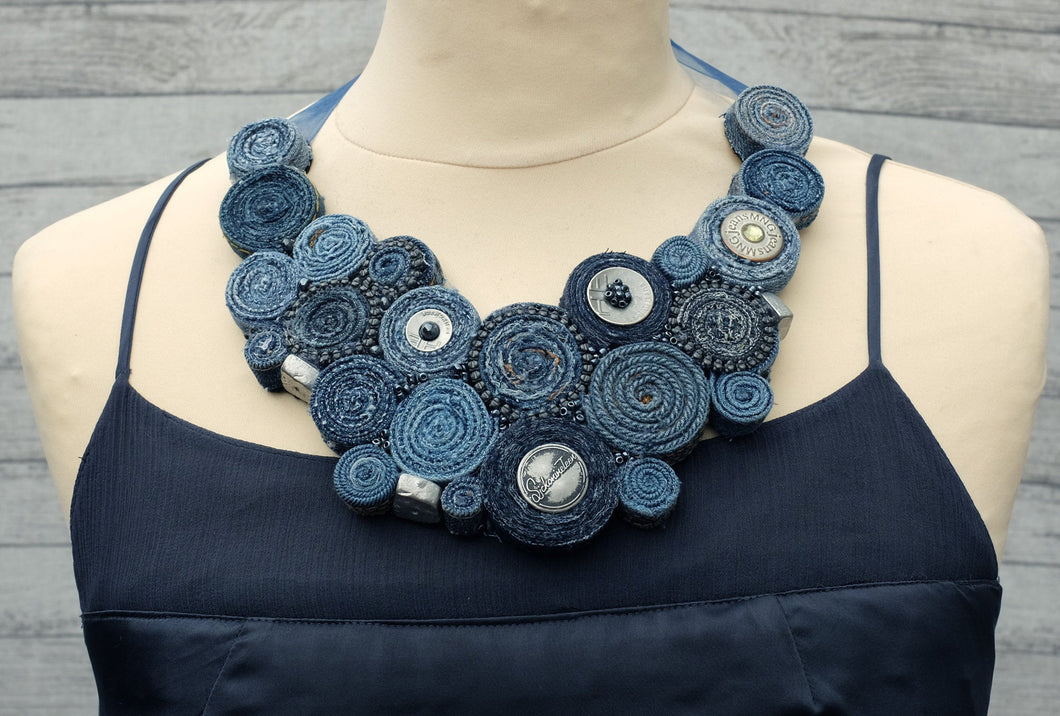 Handmade Bib Denim Necklace 8