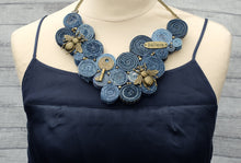 Handmade Bib Denim & Gold Necklace 9