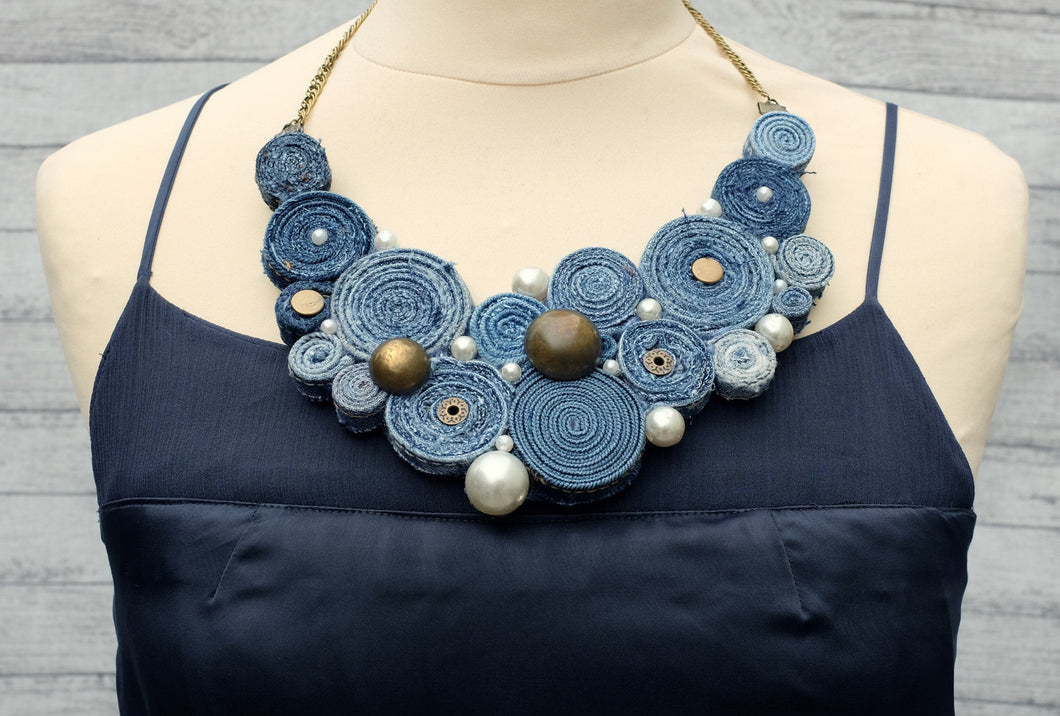 Handmade Bib Denim Necklace 6