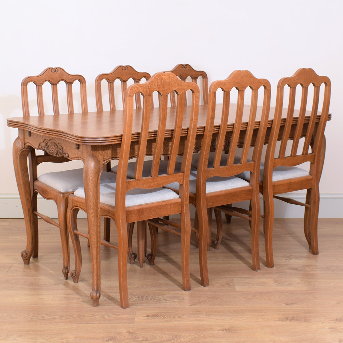French Oak Table & Six Chairs