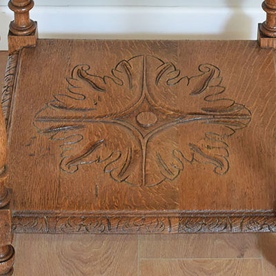 Rustic Oak Ornate Occasional Table / Side Table