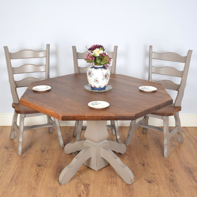Octagonal Painted Dutch Oak Table & 4 Chairs