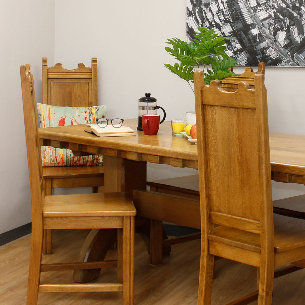 Oak Farmhouse Table & 6 Chairs