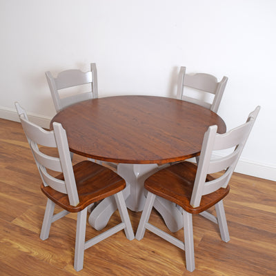 Dutch Oak Round Table & 4 Chairs