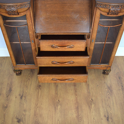 Vintage Oak Side by Side Bureau Bookcase