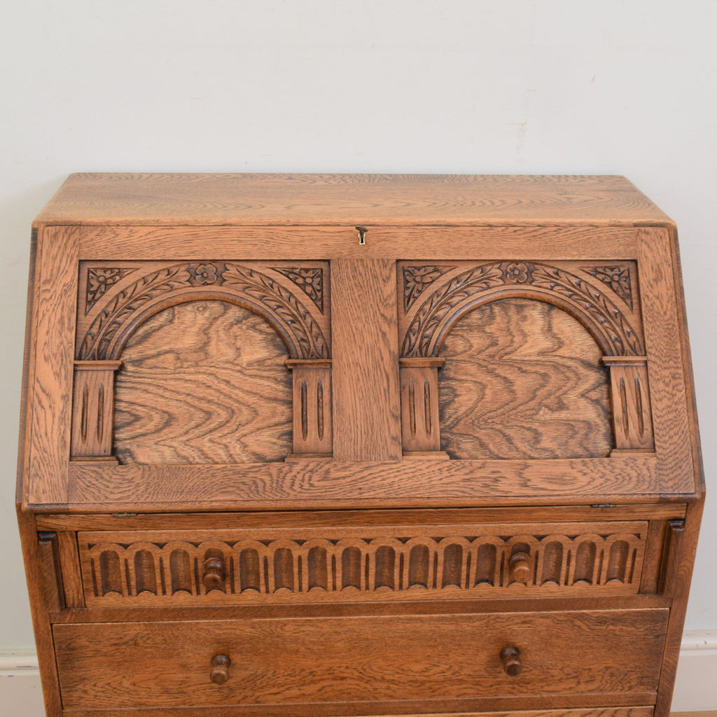 Carved Oak Bureau