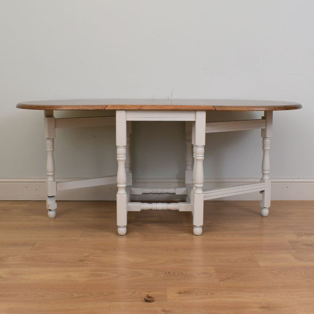 Painted Oak Drop-Leaf Dining Table & 4 Chairs