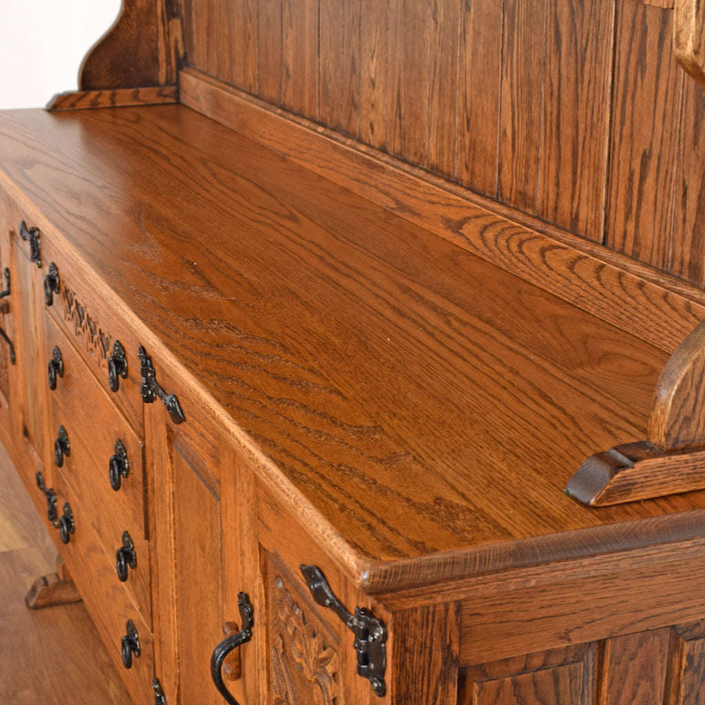 Rustic Oak Carved Dresser