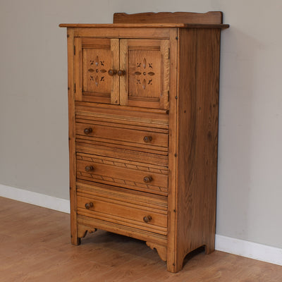 Vintage Oak Tall Boy / Cabinet