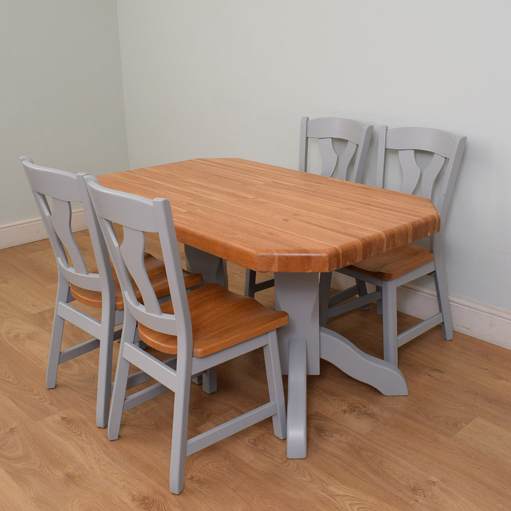 Painted & Oak table and 4 chairs