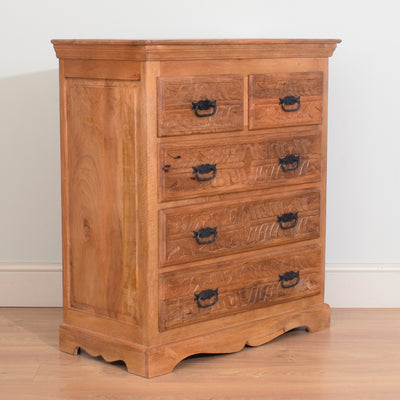 Carved Mango Wood 2/3 Chest of Drawers