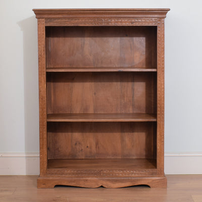 Medium Carved Mango Wood Bookcase
