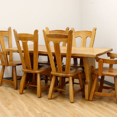 Farmhouse Oak Table & 6 Chairs