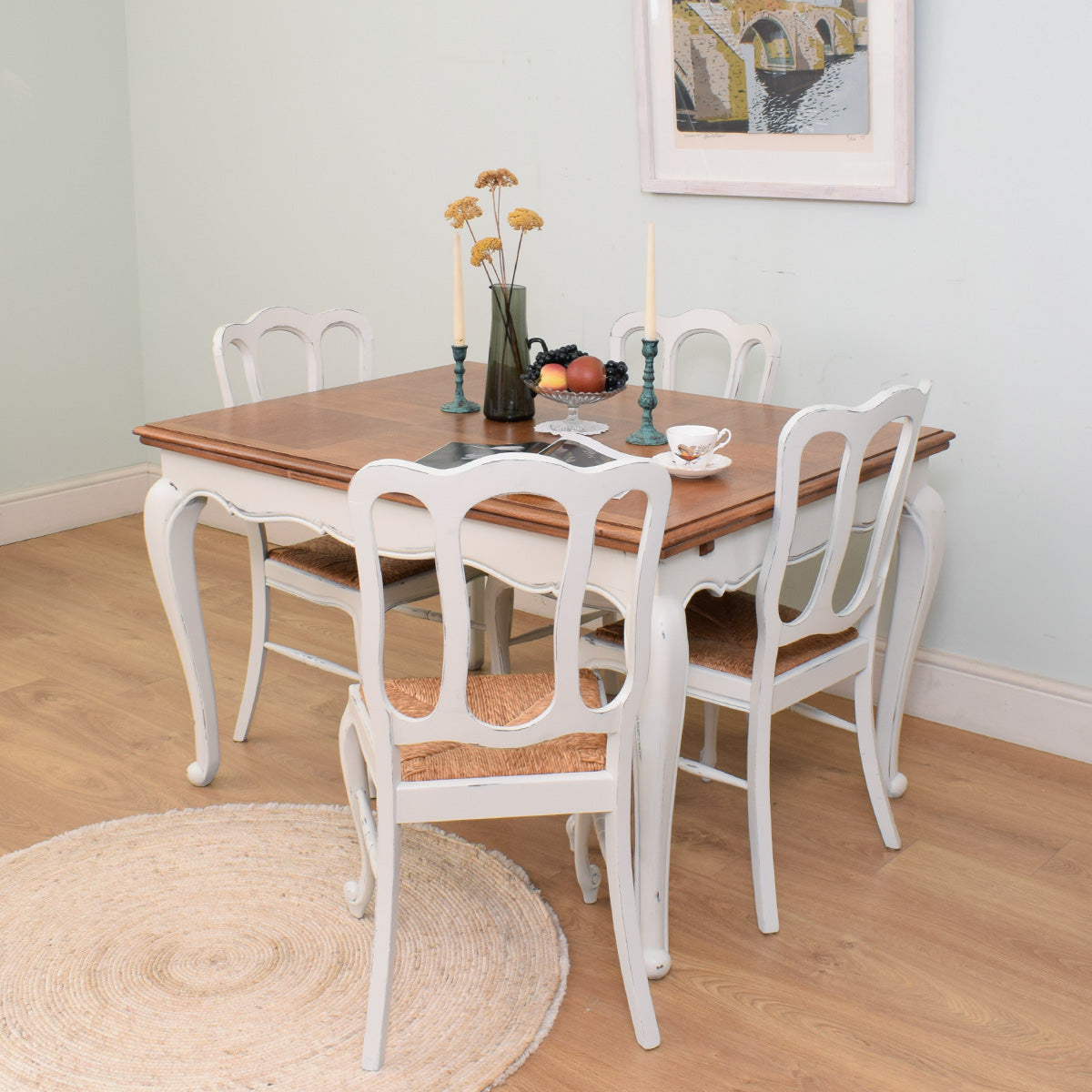 Painted French Table & 4 Chairs