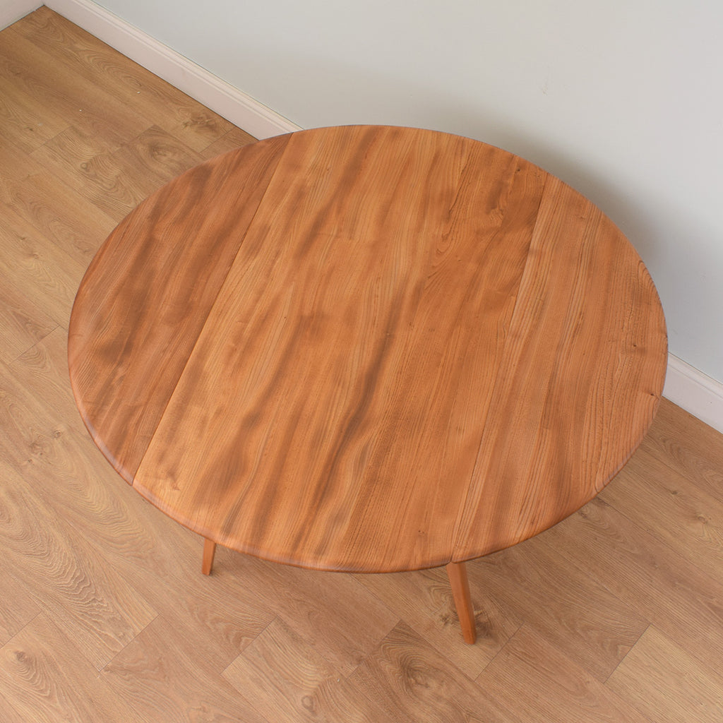 Round Ercol Drop Leaf Table & 4 Candlestick Chairs