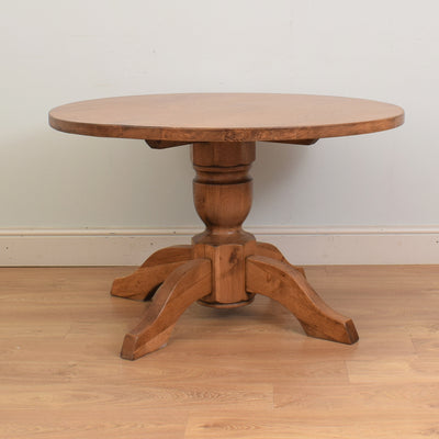Round Dutch Oak Pedestal Table & 4 Chairs