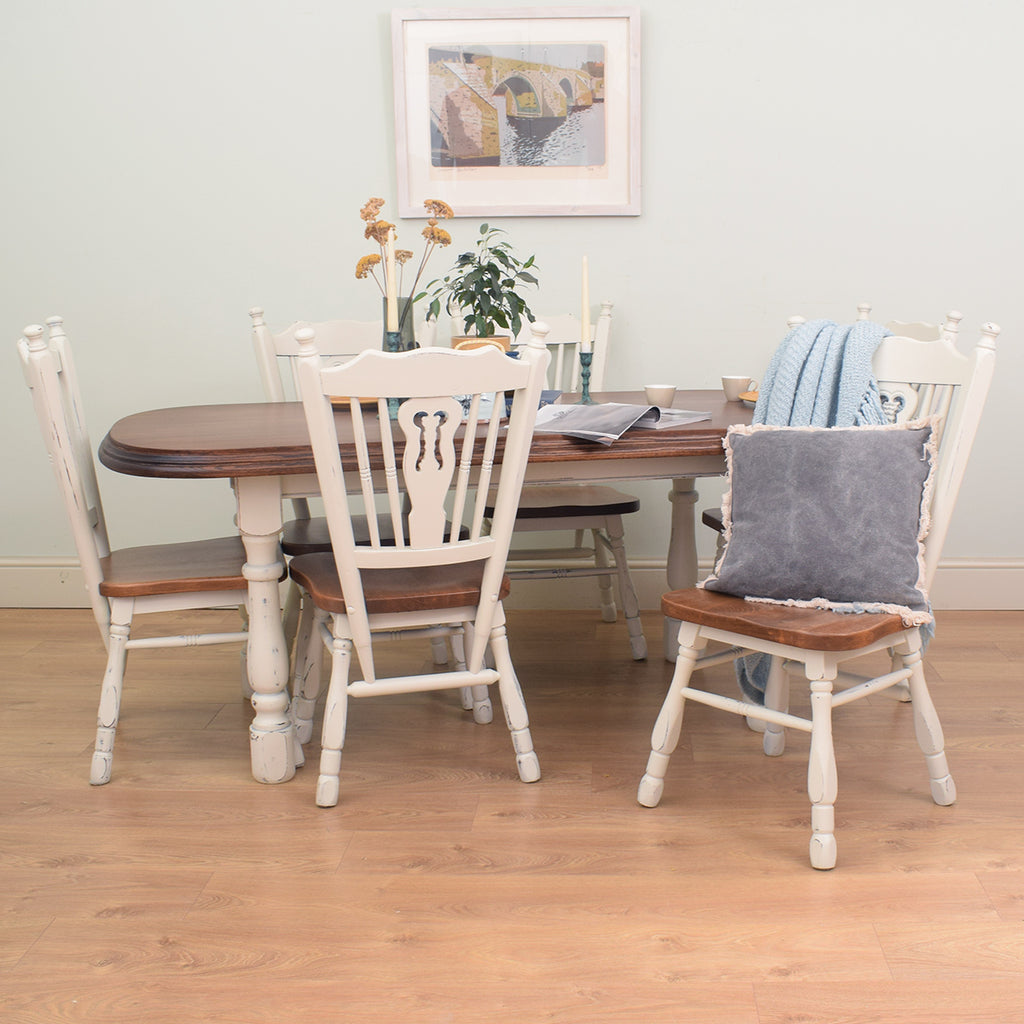 Painted Dutch Oak Table & 6 Chairs