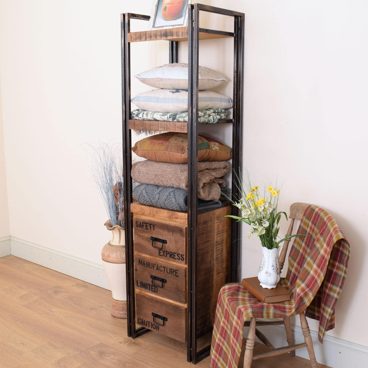 Mango Wood & Metal Industrial Style Tower Cabinet