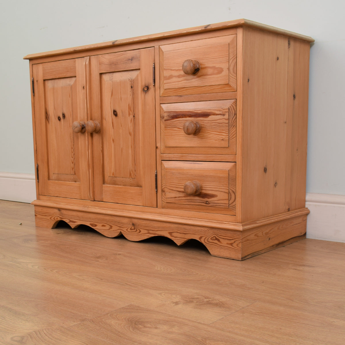 Compact solid pine sideboard