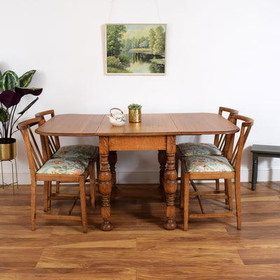 Oak Drop Leaf Table And 4 Chairs