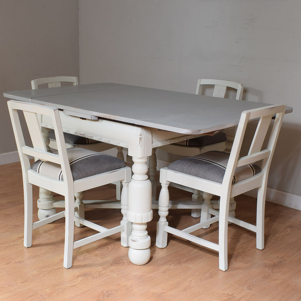 Painted Draw Leaf Table & 4 Chairs