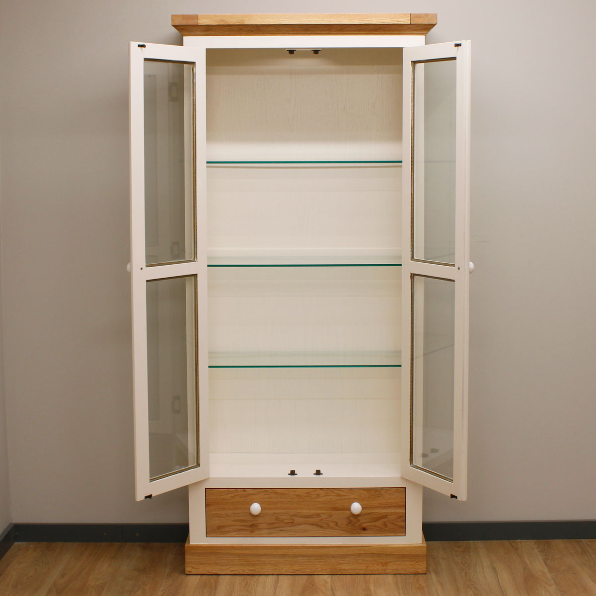 Painted Oak Glass Cabinet