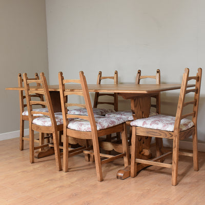 Vintage Oak Refectory Table & 6 Chairs