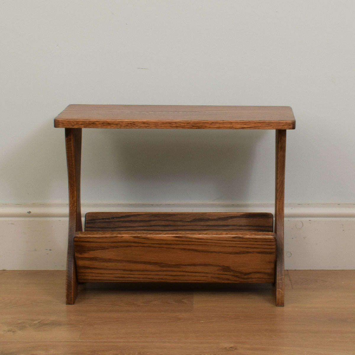 Restored Oak Magazine Rack / Side Table
