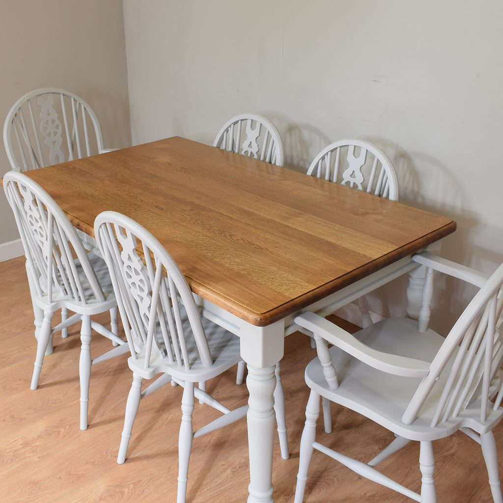 Solid Oak Farmhouse Style Table And 6 Chairs