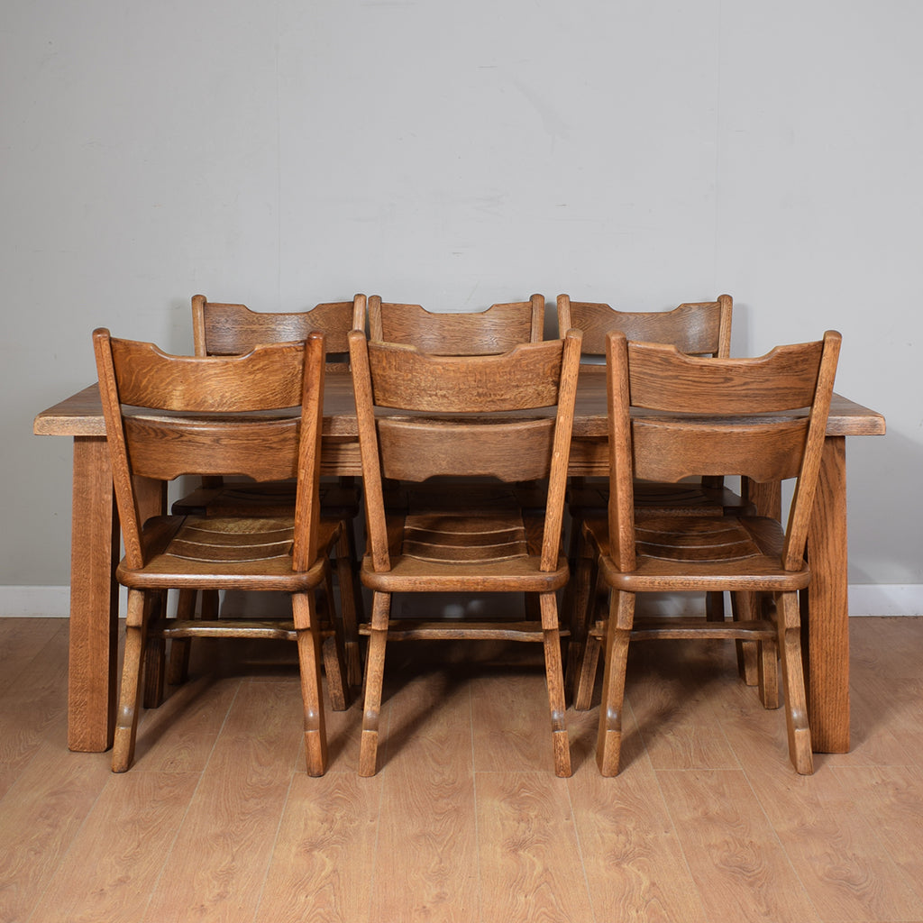 Rustic Solid Oak Table And 6 Chairs