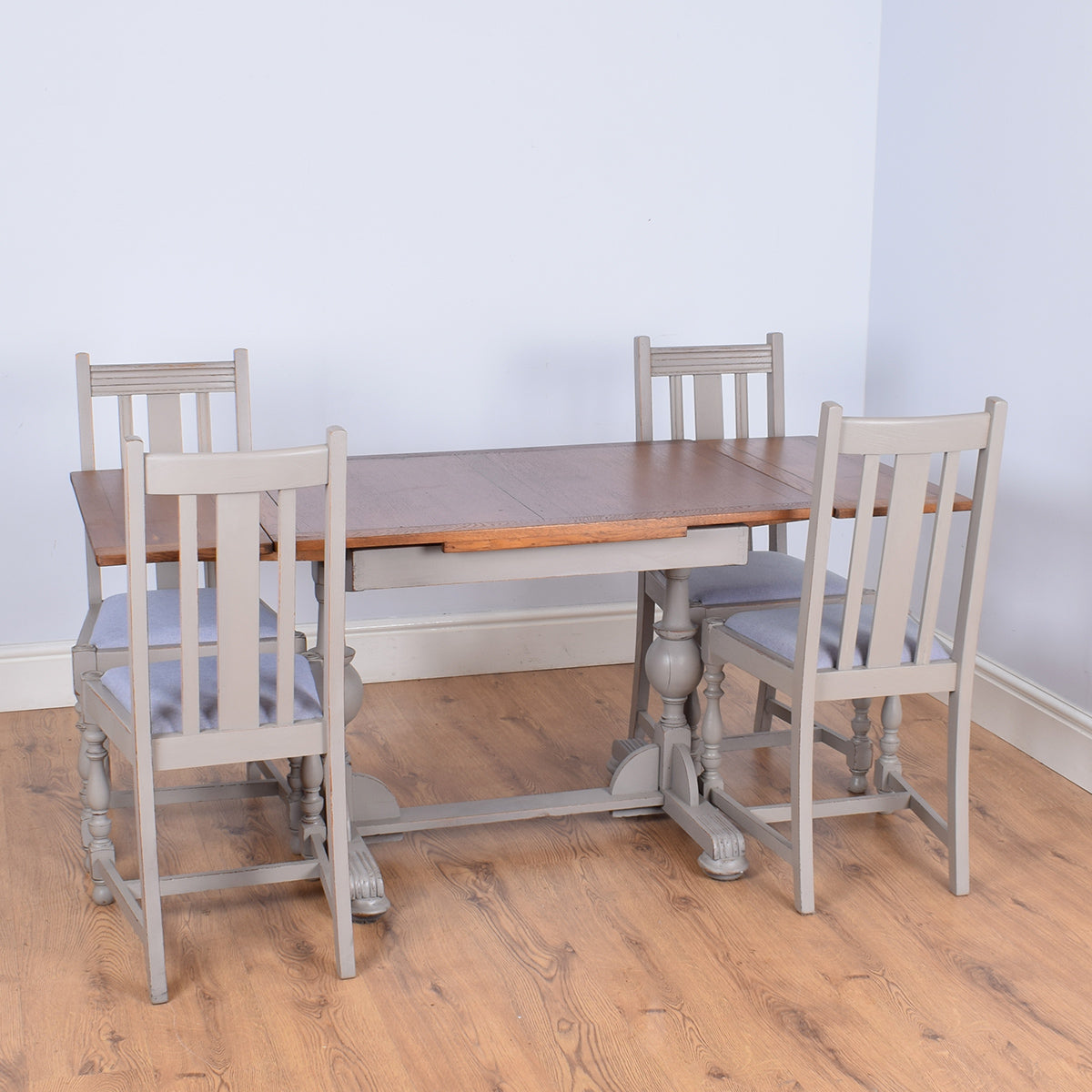 Painted Oak Draw-Leaf Table & Four Chairs