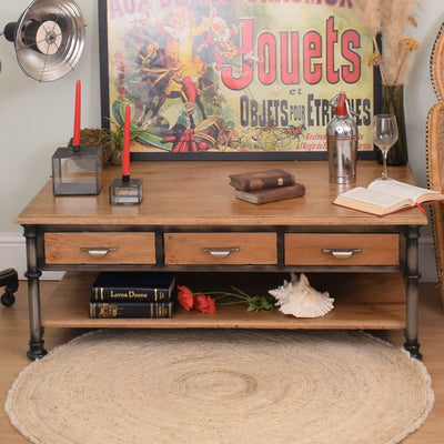 Industrial style Metal and Wood Coffee Table