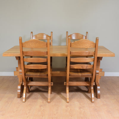 Restored Solid Oak Dining Table And 4 Chairs