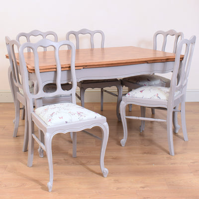 French Oak Dining Table & Six Chairs