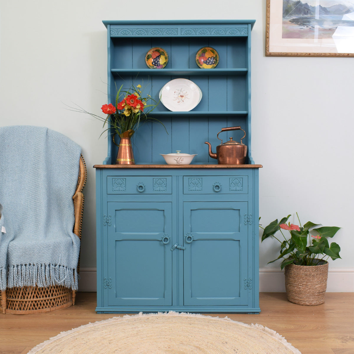 Painted Carved Oak Dresser
