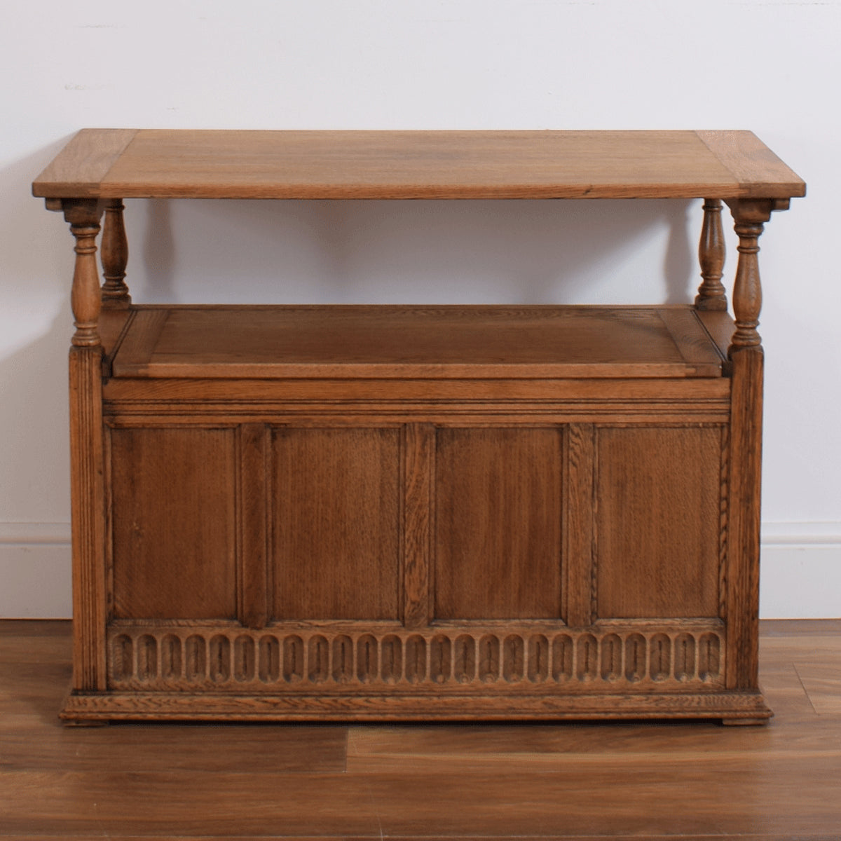 Carved Oak Monks Bench
