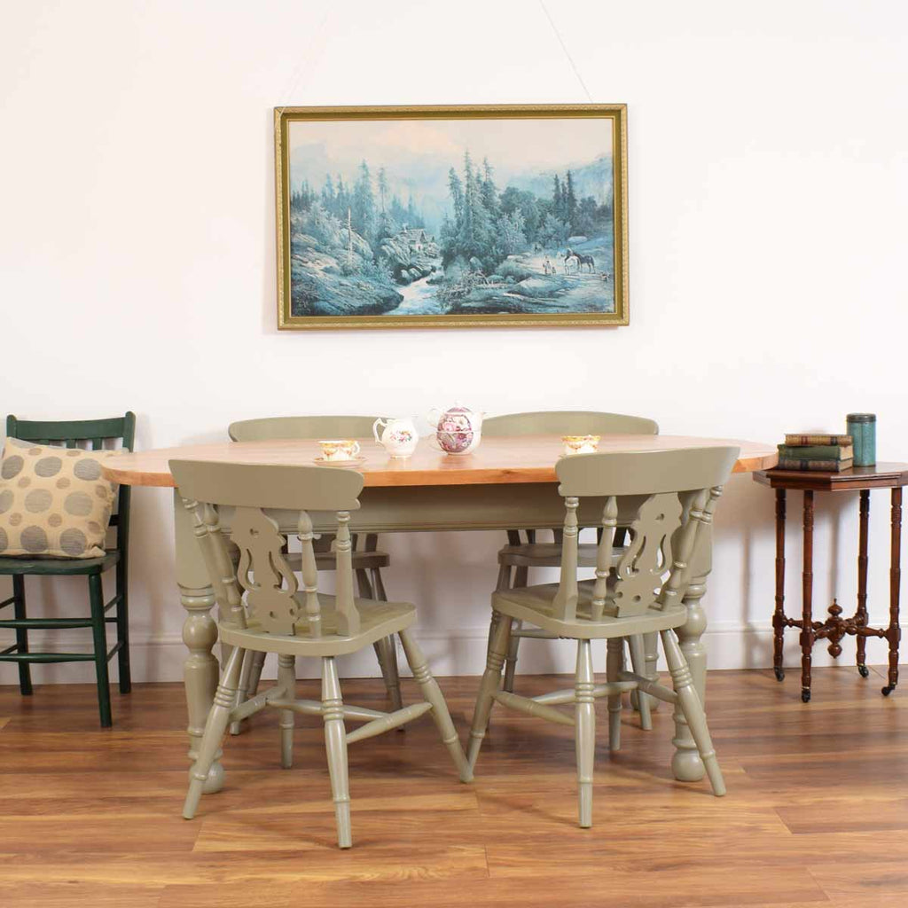 Painted Pine Table & 4 Chairs