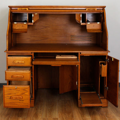 Oak Roll-Top Computer Desk