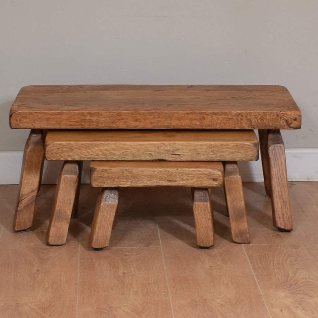 Chunky Solid Oak Nest Of Tables