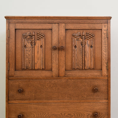 Carved Oak Tallboy