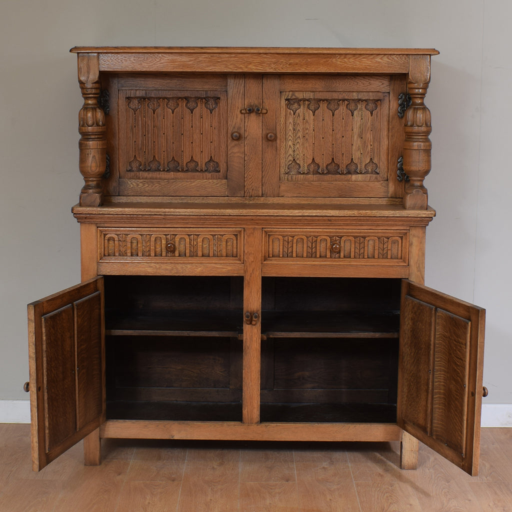Vintage Oak Restored Court Cupboard / Kitchen Buffet