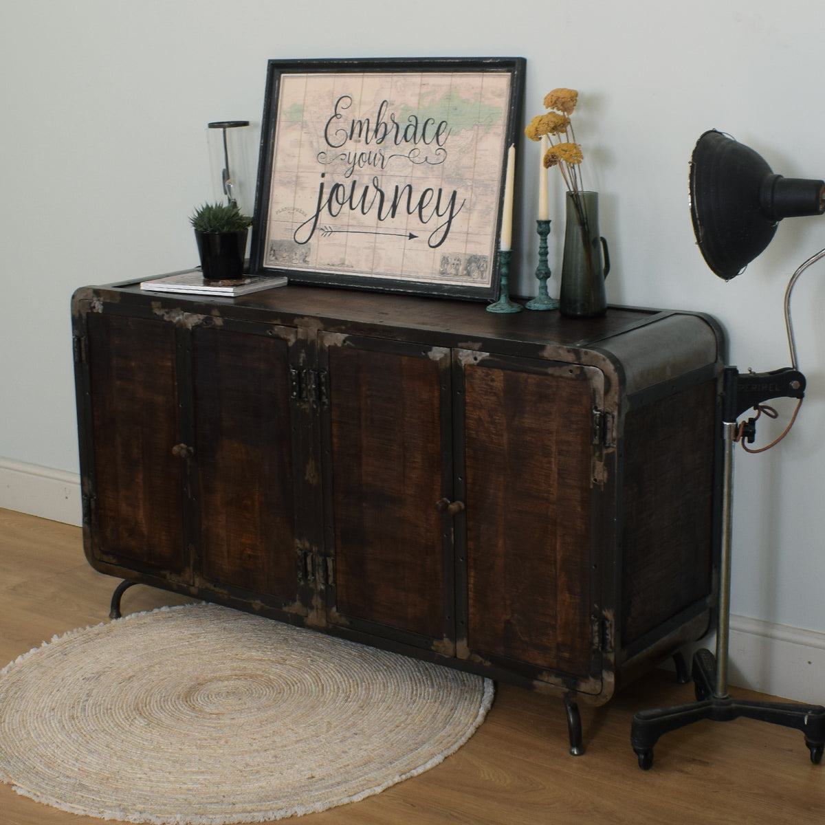 Mango & Steel Large Retro Industrial Sideboard